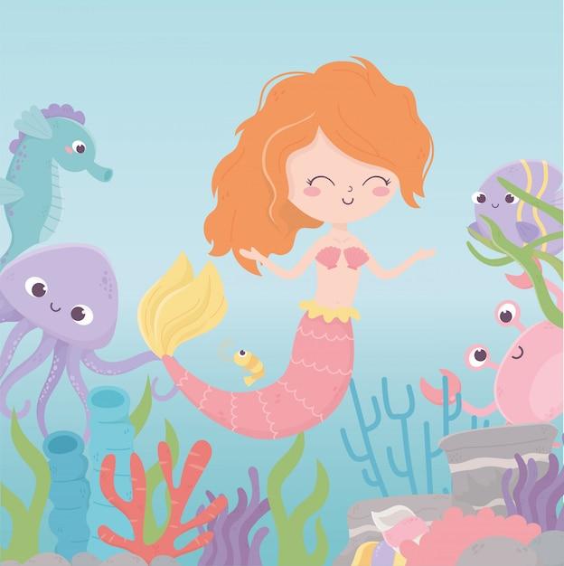 Русалка морской конек осьминог краб креветки коралловый мультфильм под морем векторная иллюстрация Premium векторы