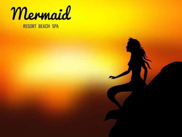 Mermaid silhouette sunrise background Premium Vector