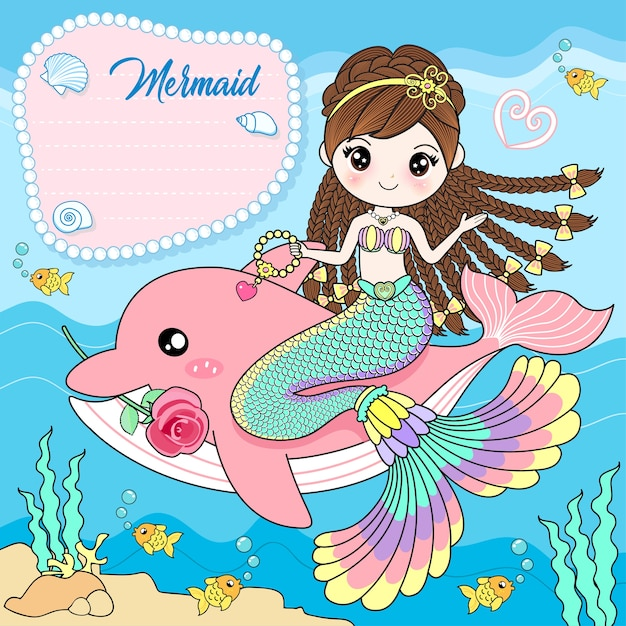 The mermaid sits on a pink dolphin Premium Vector