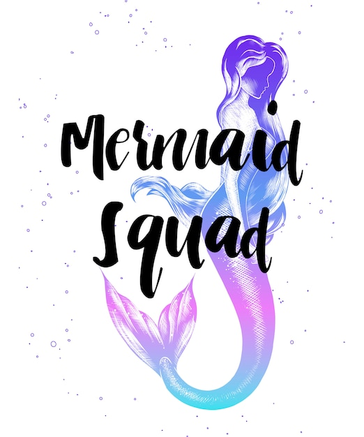 Mermaid squad with sketch of mermaid girl Premium Vector