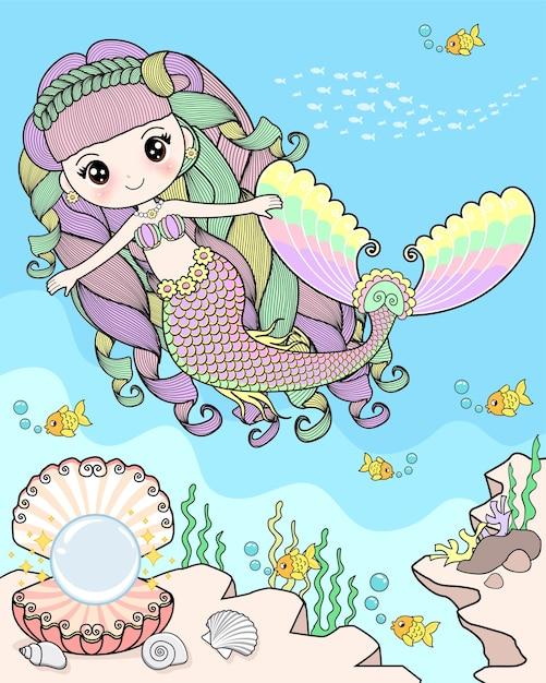 Mermaid swimming under the sea Premium Vector