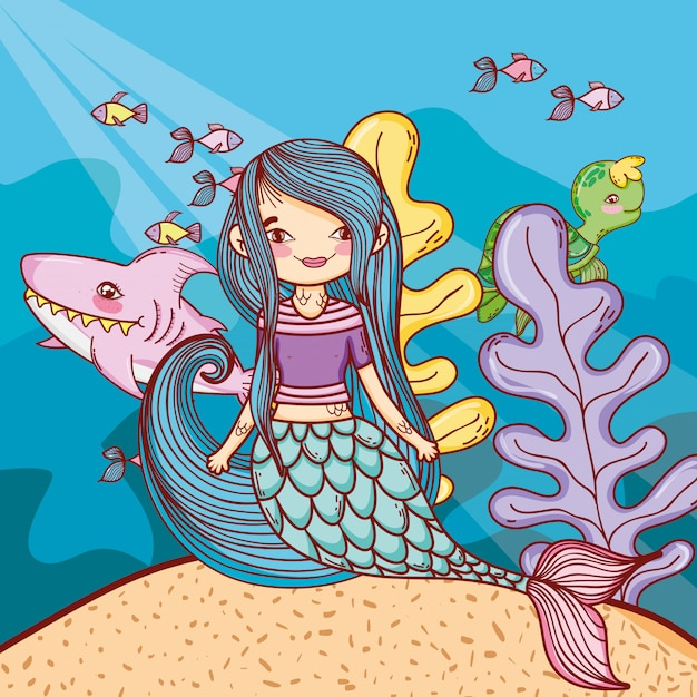 Mermaid swimming undersea Premium Vector