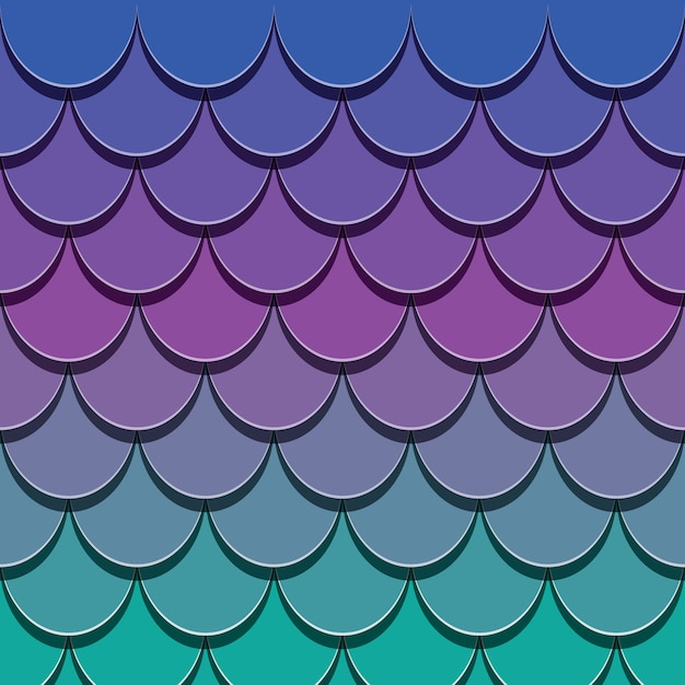 Mermaid tail pattern. paper cut out 3d fish skin background. Premium Vector