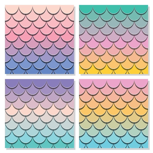 Mermaid tail pattern set. Premium Vector