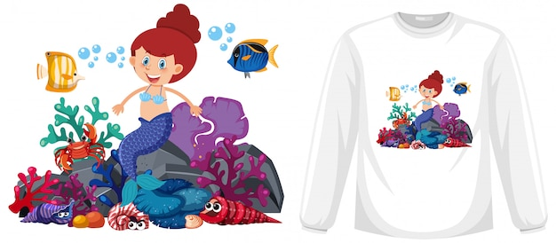 Mermaid theme outfit mock up Premium Vector