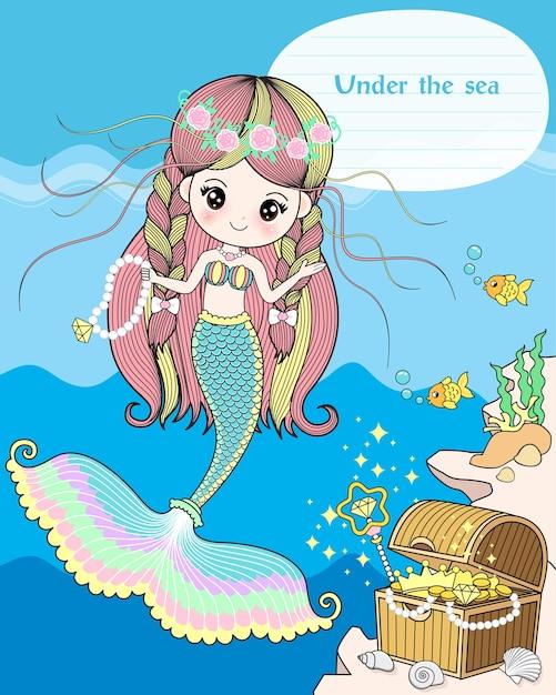 The mermaid treasure under the sea Premium Vector