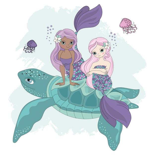 Mermaid turtle cartoon tropical animal Premium Vector