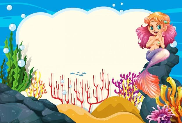 A mermaid underwater frame Free Vector