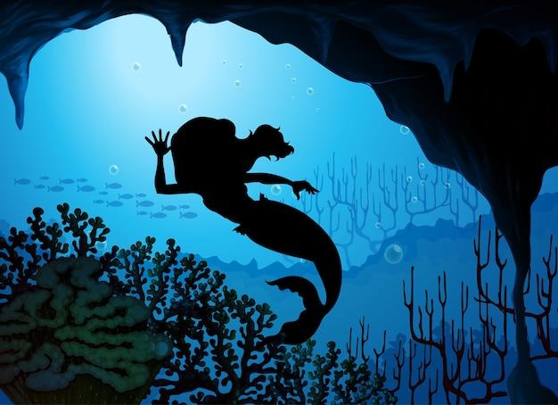 人魚の水中シルエットシーン 無料ベクター