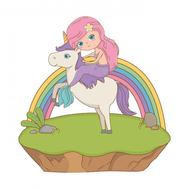 Mermaid and unicorn of fairytale design vector illustration Premium Vector