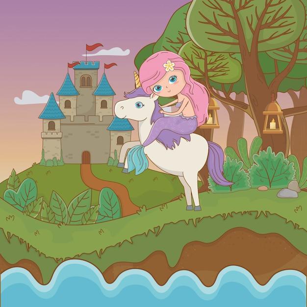 Mermaid and unicorn of fairytale Free Vector