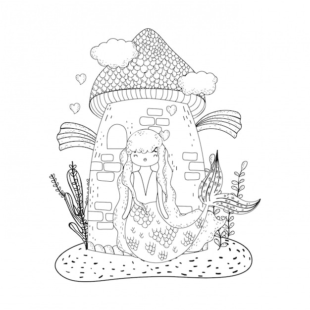 Mermaid with castle undersea scene Premium Vector