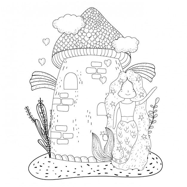 Mermaid with castle undersea scene Premium Vector