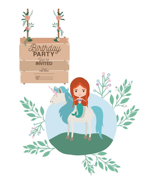 Mermaid with unicorn and wooden label invitation card vector mermaid with unicorn and wooden label invitation card premium vector stopboris