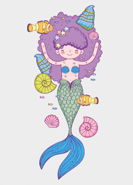 Mermaid Woman Wearing Snail In The Hairstyle With Fishes Vector
