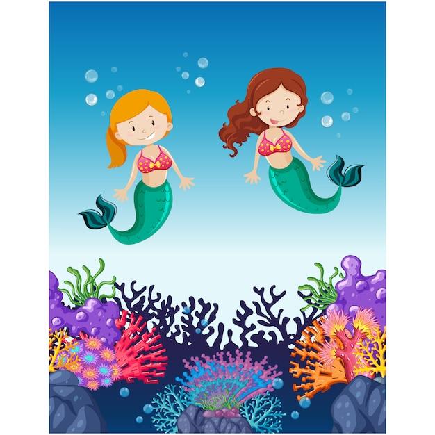 mermaids background design vector free download