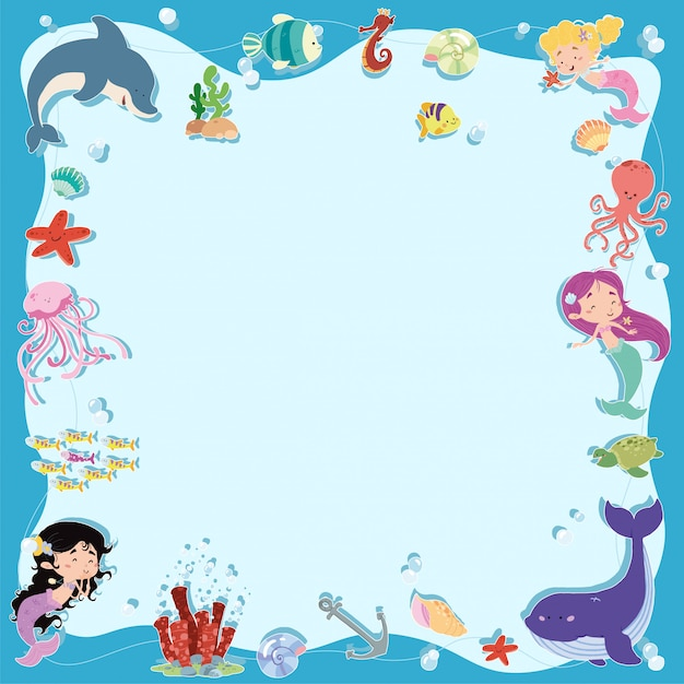 Mermaids frame and sea background Premium Vector