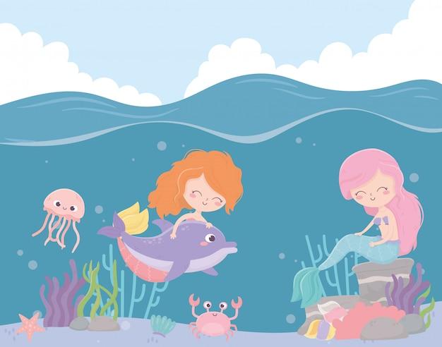 Русалки медузы краб морская звезда коралл мультяшный под морем векторная иллюстрация Premium векторы