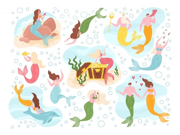 Русалки морской феи под водой на морскую тематику с мифологическими океанскими существами. русалка с рыбьими хвостами, дельфин, водоросли. коллекции водных милых девушек и фантазийных мужчин, купание морских богов. Premium векторы