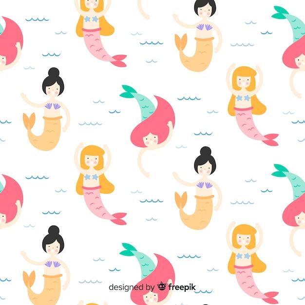 Mermaids swimming pattern flat design Free Vector