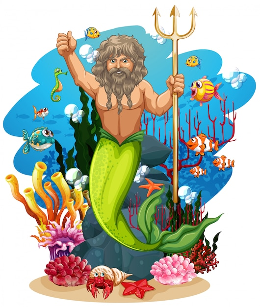 Merman and many fish under the ocean Free Vector
