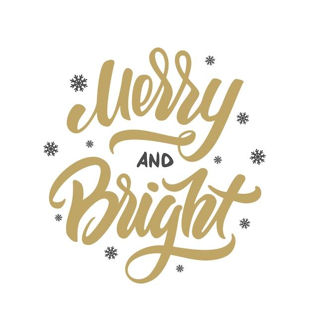 흰색 바탕에 눈송이와 명랑 하 고 밝은 크리스마스 황금 우아한 현대 브러시 글자. 프리미엄 벡터