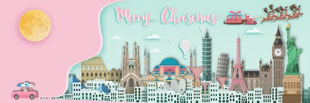 Merry chrismas around the world  in paper art style. Premium Vector