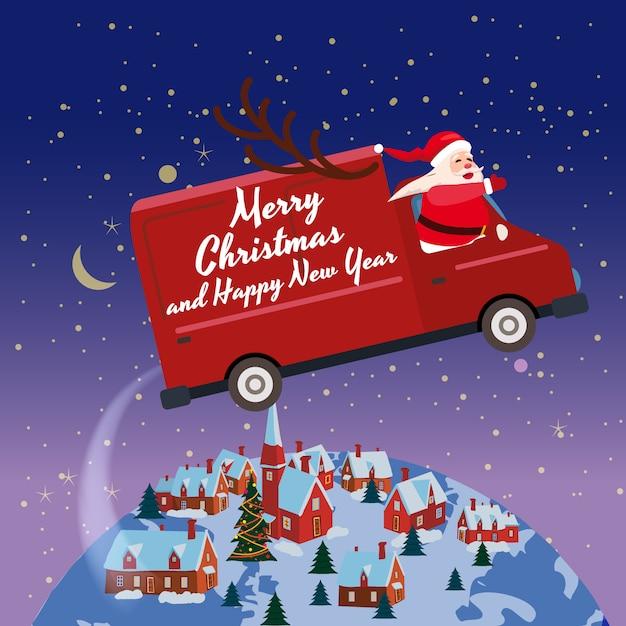 Merry chrismas santa claus van flies through the night sky above the earth winter town Premium Vector