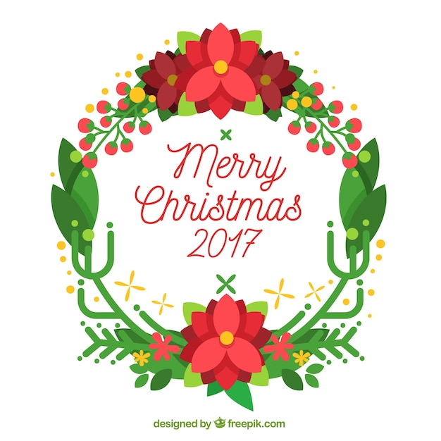 Merry christmas 2017 background with a wreath