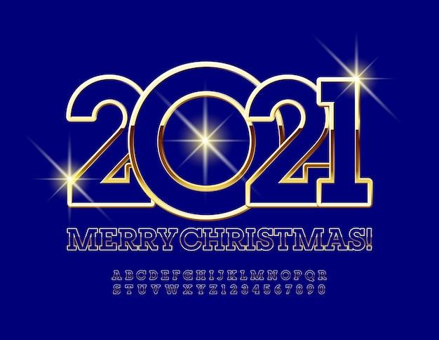 메리 크리스마스 2021. 금색과 파란색 글꼴. 세련된 알파벳 문자와 숫자 프리미엄 벡터