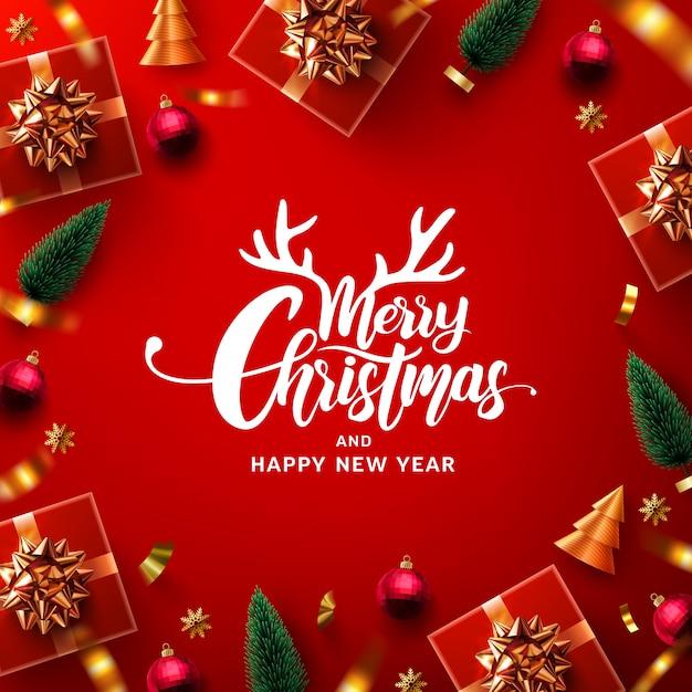 Рекламный плакат с рождеством и новым годом Premium векторы