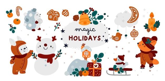 メリークリスマス、そして、あけましておめでとう!漫画の動物、ギフト、雪だるまとハッピーホリデーコレクション Premiumベクター