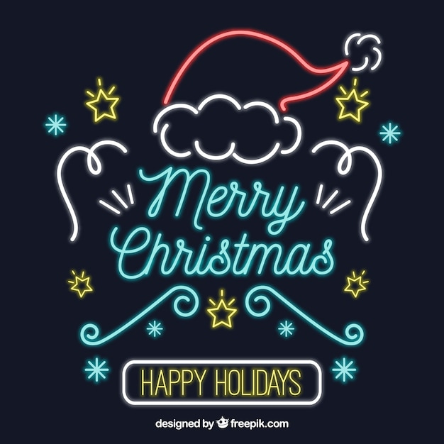 Merry christmas and happy holidays in neon