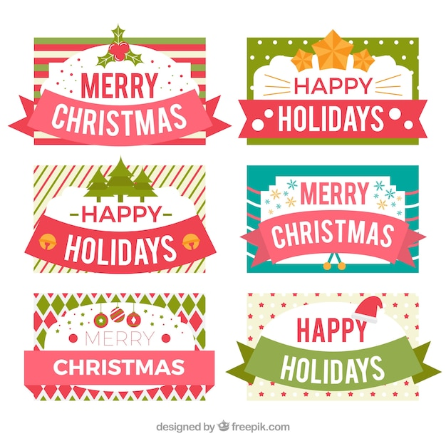 Merry christmas and happy holidays labels Vector | Free Download