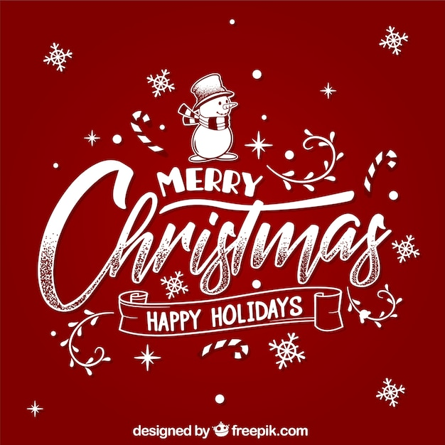 Merry christmas and happy holidays Vector Free Download