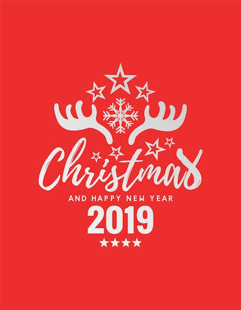 Merry Christmas and Happy New Year 2019 Premium Vector