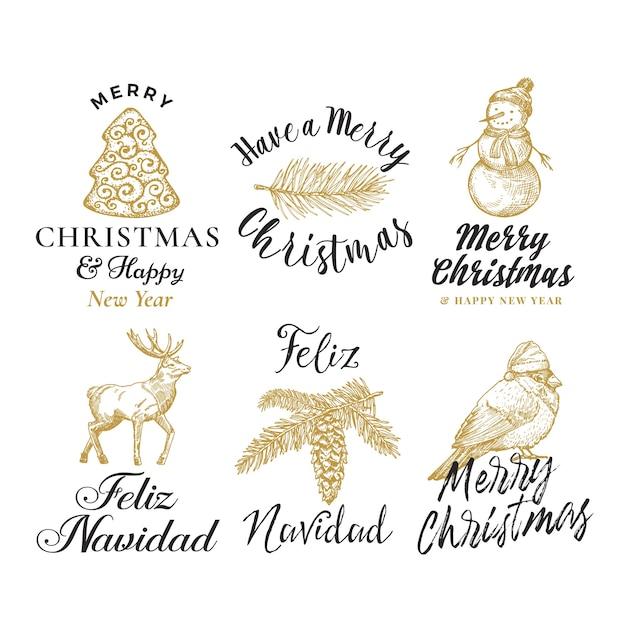 Веселого рождества и счастливого нового года абстрактные знаки, этикетки или набор шаблонов логотипов Бесплатные векторы