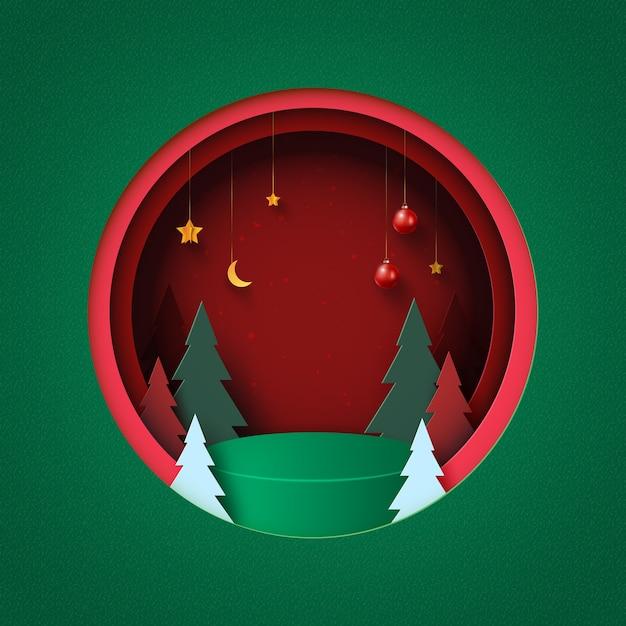 메리 크리스마스와 새 해 복 많이 받으세요 배경 빨간색 원 안에 녹색 연단 크리스마스 트리 크리스마스 공 및 별 종이 예술 장식 프리미엄 벡터