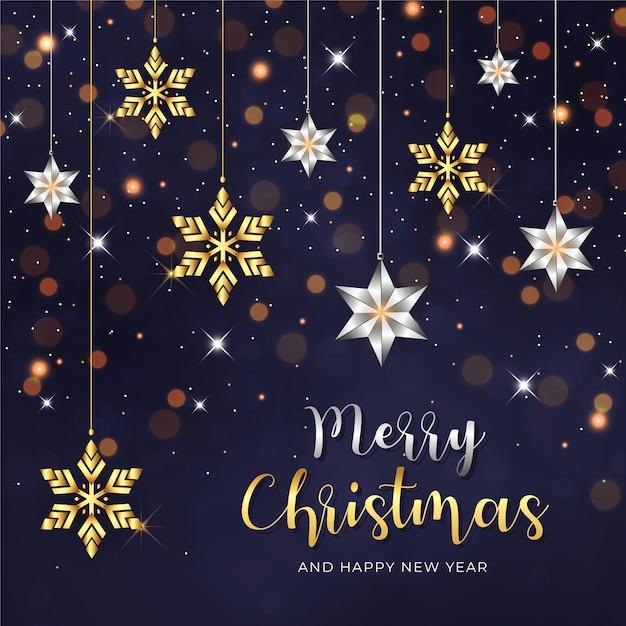装飾された雪の結晶と星の装飾品でメリークリスマスと新年あけましておめでとうございますの背景 Premiumベクター