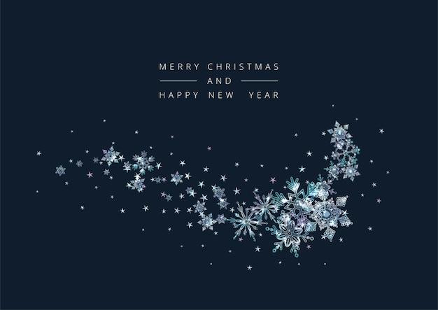 装飾的な雪片とメリークリスマスと新年あけましておめでとうございますの背景 Premiumベクター
