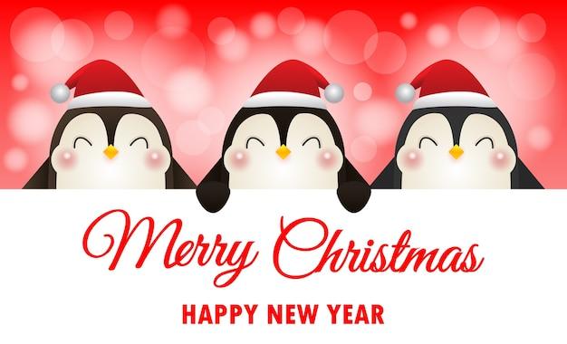 Веселого рождества и счастливого нового года фон с пингвинами Premium векторы