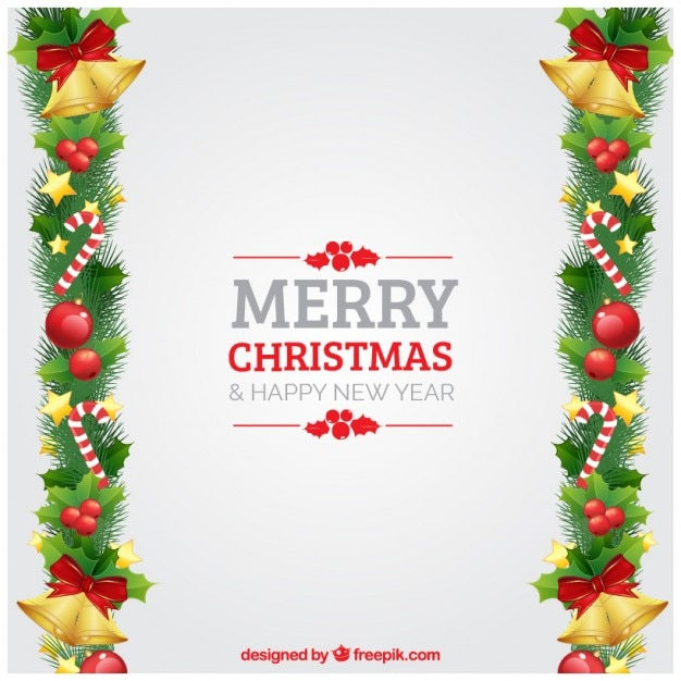 merry christmas and happy new year background free vector