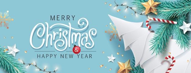 С рождеством и новым годом фон Premium векторы