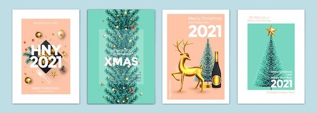 メリークリスマスと新年あけましておめでとうございますの背景、グリーティングカード、ポスター、ホリデーカバー。リアルな大晦日とクリスマスのオーナメントでデザイン。ベクトルイラストクリスマスお祝いテンプレート Premiumベクター