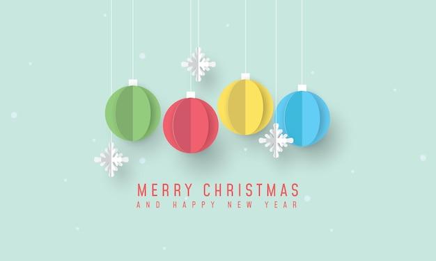 メリークリスマスとクリスマスの飾りと雪片と新年あけましておめでとうございますのバナー Premiumベクター