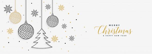 С новым годом и рождеством баннер Бесплатные векторы