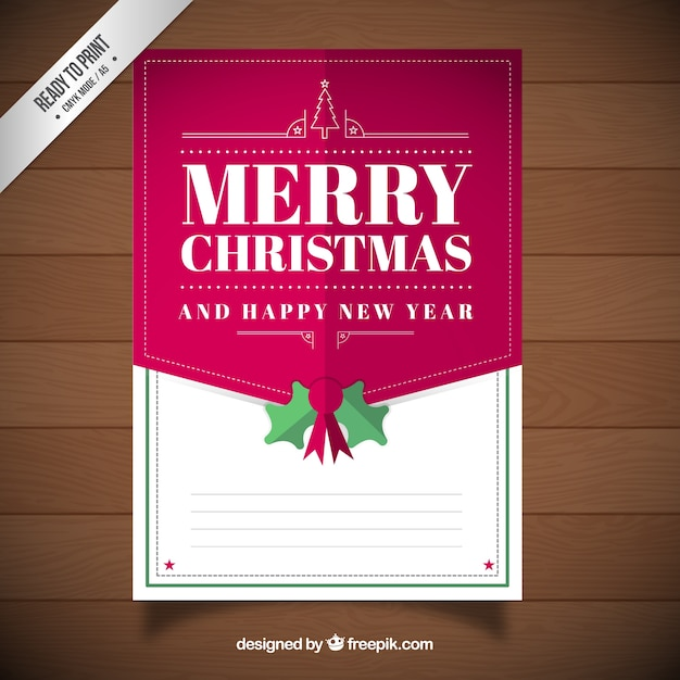 merry christmas and happy new year card template vector free download