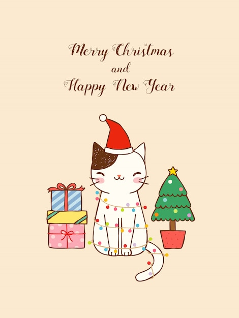 merry christmas and happy new year card with cute cat premium vector