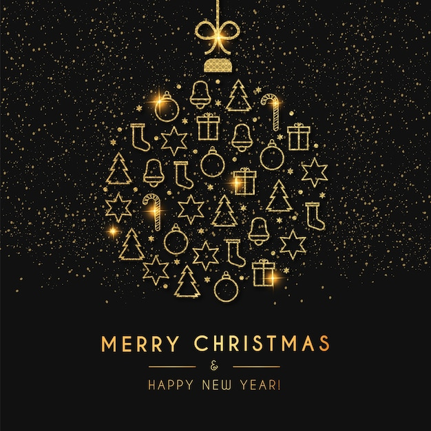 Открытка с новым годом и рождеством с золотым елочным шаром Бесплатные векторы