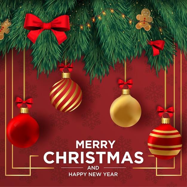 リアルな装飾フレーム付きのメリークリスマスと新年あけましておめでとうございますカード 無料ベクター